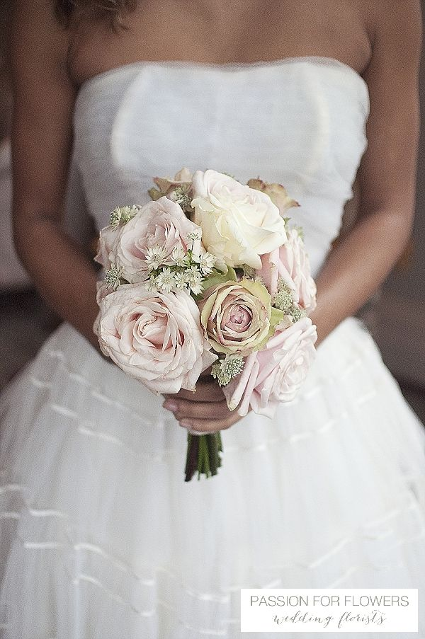 dusky pink vintage rose bouquets wedding flowers  ~ florals by www.passionforflowers.net