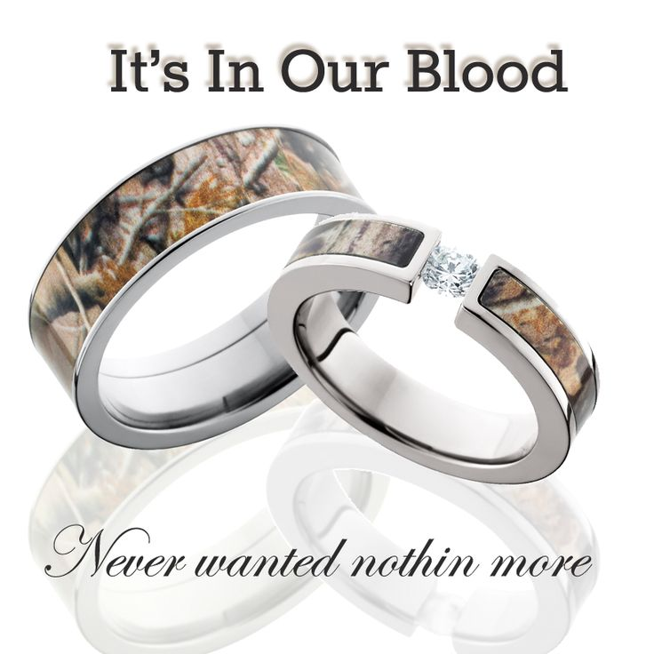 Camo wedding rings for the couples that have camouflage in their blood and in their roots. His an hers set. Choose between Mossy Oak and Realtree @Camokix
