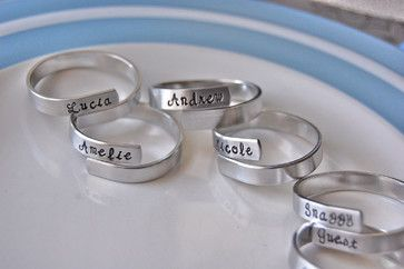 Personalized Family Napkin Rings by Lorelei Vella, Set of 5 contemporary-napkin-rings