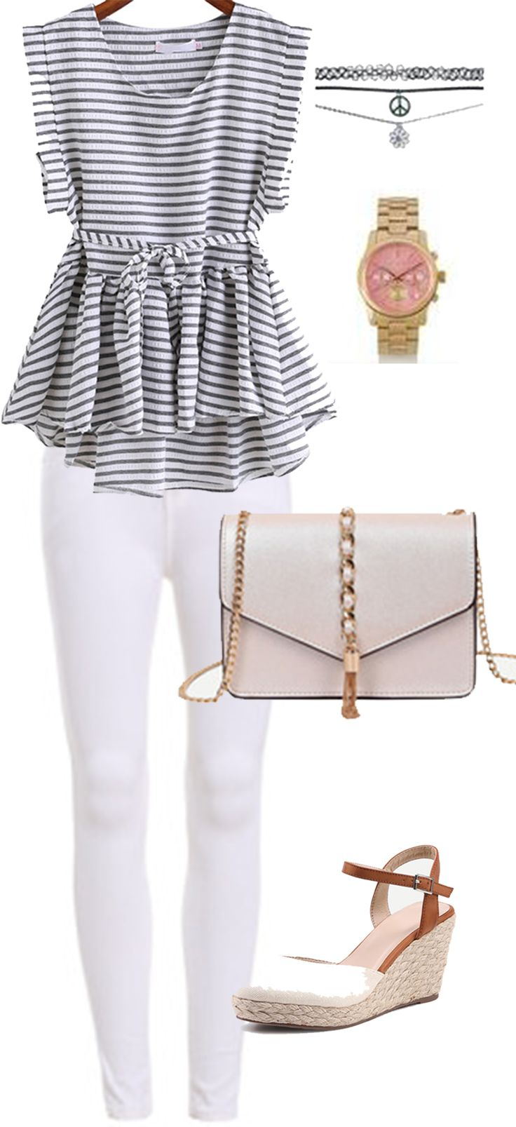 Business casual chic outfit-Cute stripe blouse+chic white jeans+ comfortable wedge heels+ adorable beige bag. Perfect for the whole day! Check them here now!