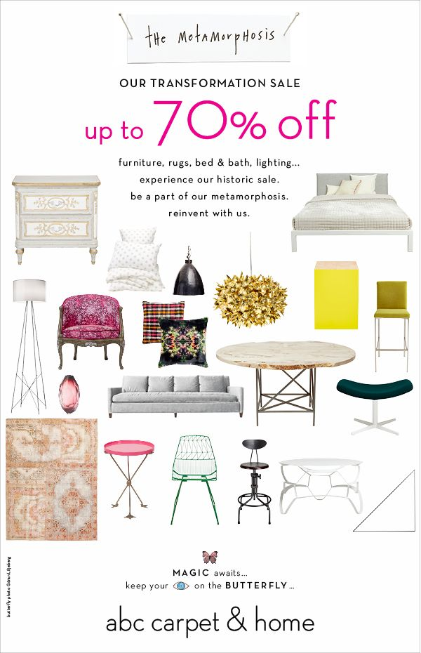 Our transformation sale. Up to 70% off in-store & online. Furniture, lighting, rugs, bed & bath...experience this historic sale. Reinvent with us.
