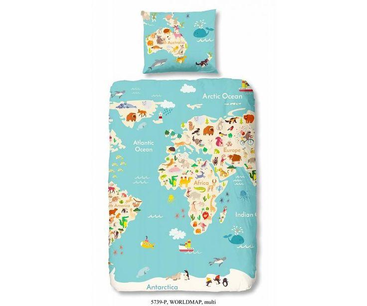 Good morning kinder dekbedovertrek Worldmap is een dekbedhoes met een print van de wereldkaart. Dit dekbed overtrek is gemaakt van 100% katoen.
