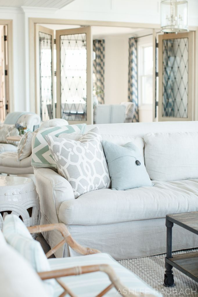 Owens + Davis - Blog | pretty, soft colors in this living room---doors betw library and observation room