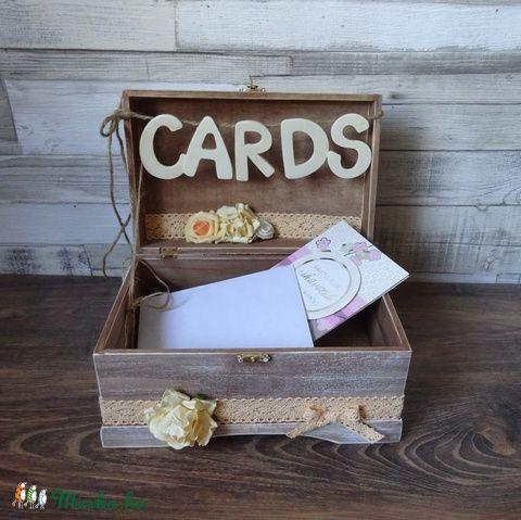 Esküvőre pénzgyűjtő doboz pajta rusztikus kártyagyűjtő doboz láda fadoboz, Esküvő, Esküvői dekoráció, Nászajándék, Gyűrűpárna, Meska