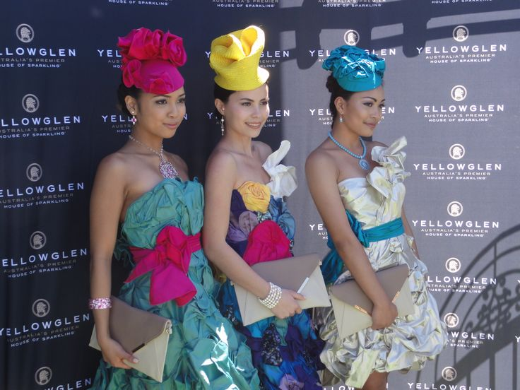 2013 Melbourne Cup Fashions on the Fields with Noela, Lulu and Carla wearing jewels from the Andrea Agosta Designer Jewellery Collection. Designer dresses by Leiela and Millinery by Melissa Richards. Hair and makeup by Shula Keyte.