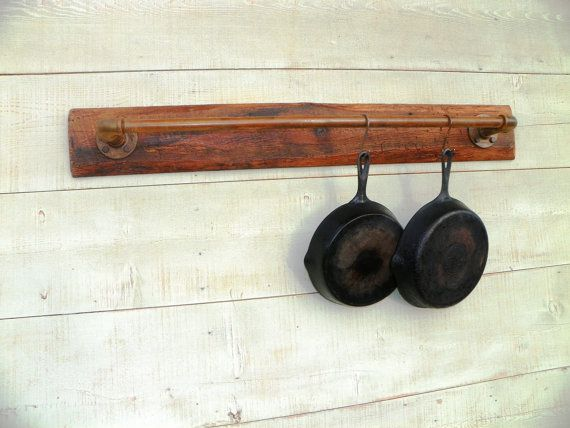 Reclaimed Industrial Wall mounted Pot Rack Holder by hippiehog, $122.00