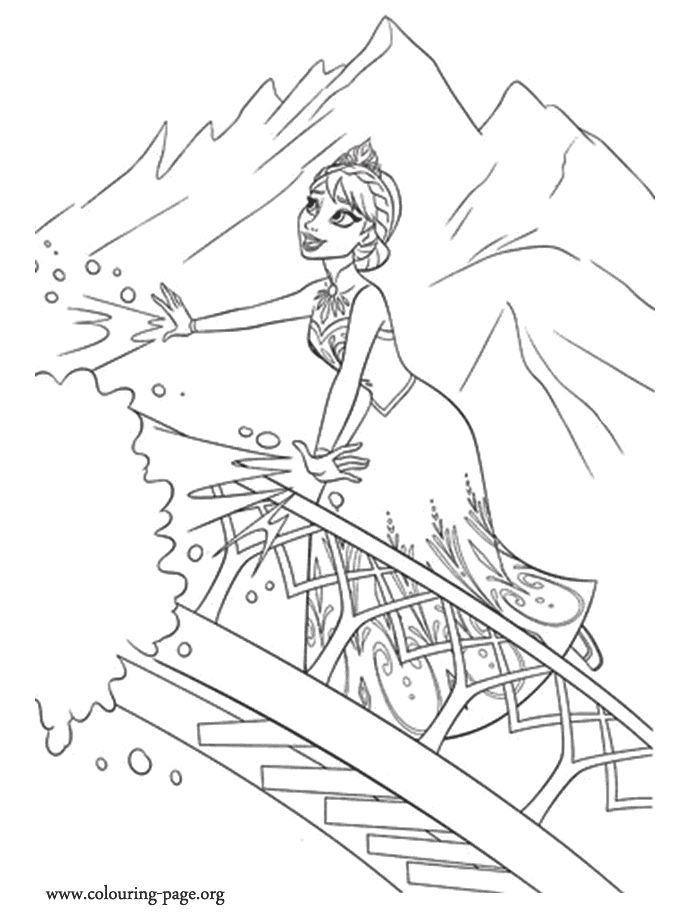 Elsa Is Alone In The Mountain And Free To Use Her Ice Powers How About Frozen Coloring SheetsDisney