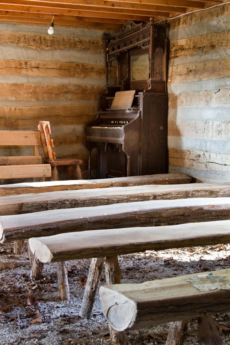 old log church with organ at Lake Return...