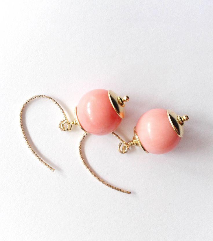 orecchini corallo rosa, orecchini argento 925, argento placcato oro, orecchini rosa, corallo rosa, corallo e argento, orecchini handmade di tizianat su Etsy