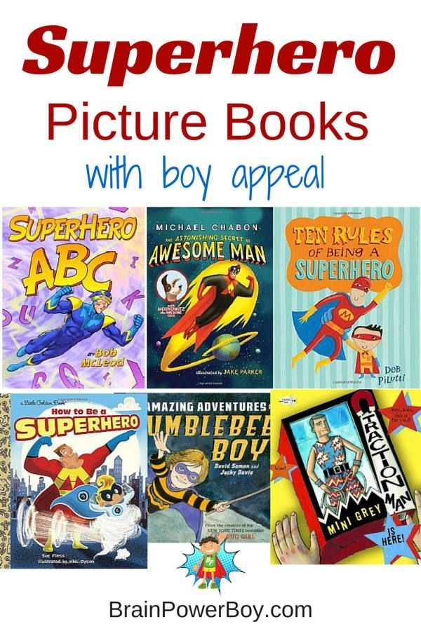 Non-commercial superhero picture books chosen especially for boys. #superheroes #superhero #bestbooksforboys #childrensbooks