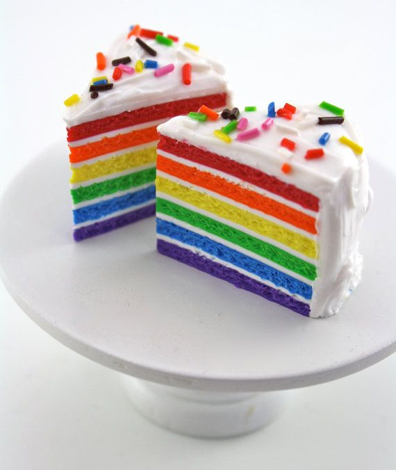 Rainbow Cake Slices with Sprinkles Food For American Girl Dolls by pippaloo