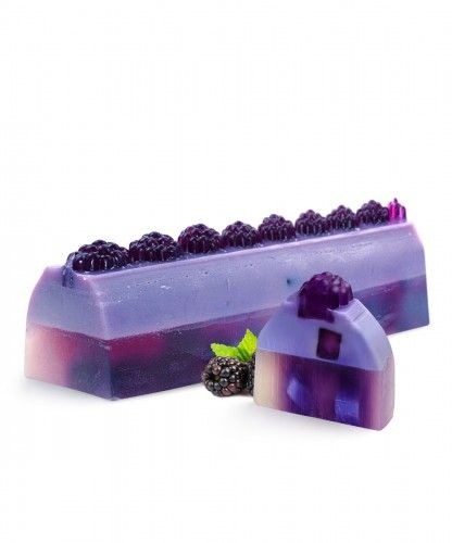 Big Blueberry Soap Cake | LeSoie Cosmetics  Dark indulgent fruit notes of blueberries paired with ripened grapes, and delicate cassis notes in the heart on a sweet vanilla base.  It remembers us to the mouth-watering blueberry sweets