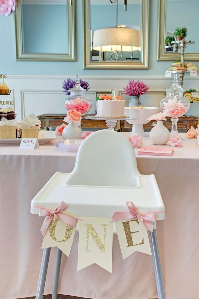 Honey We're Home: Jordan's First Birthday Party (A Garden Party) ONE High Chair Banner