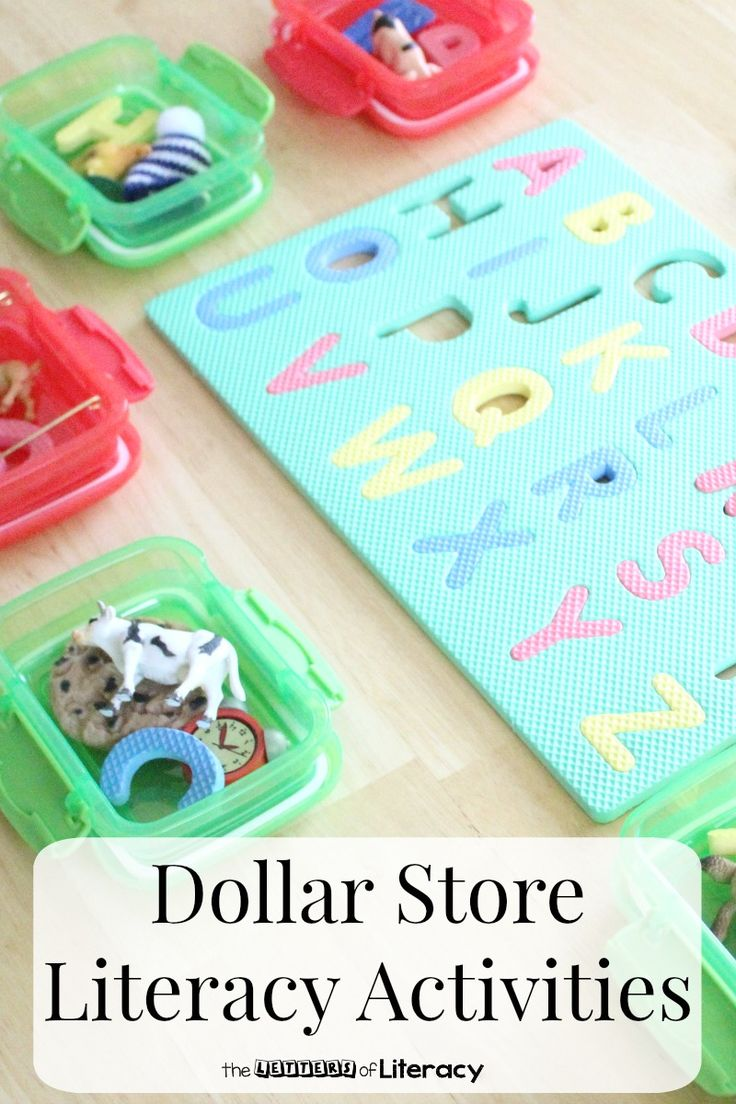 Today, I'm excited to share with you 4 quick Dollar Store Literacy Activities that you can easily put together for small groups or centers!