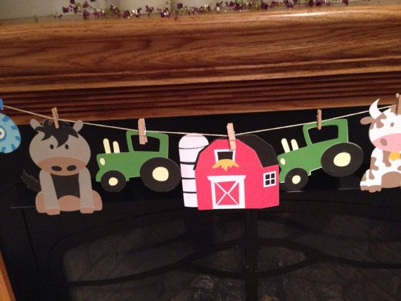 Farm Theme Banner...This banner is a fabulous addition to any: Baby Shower, Birthday Party, Gender Reveal Party, and so much more!!  Details Die