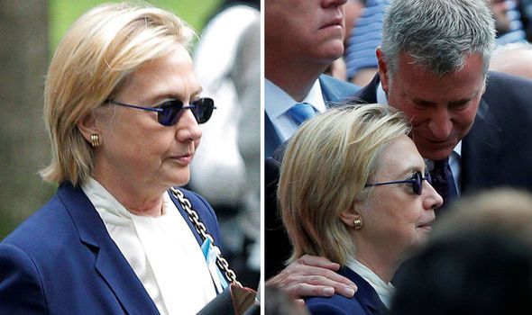 HILLARY Clinton has been forced to leave a 9/11 commemoration service today…