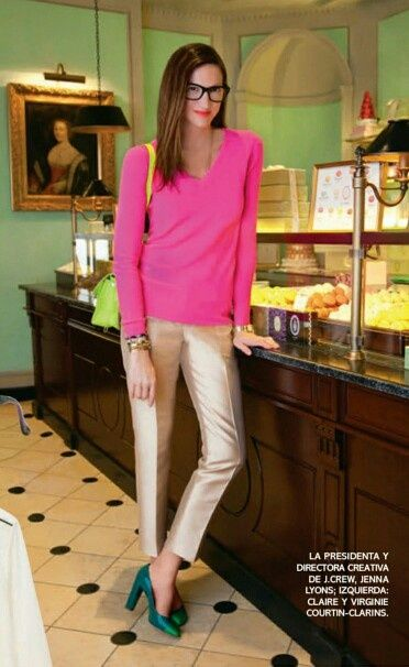 Hot pink sweater and golf metallic pants Jenna Lyons.