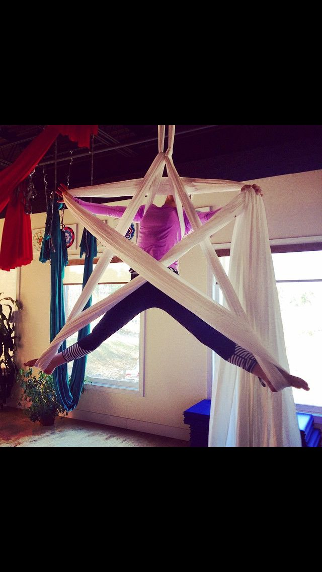 Our amazing, aerial Lauren demonstrates a star with the aerial silks!