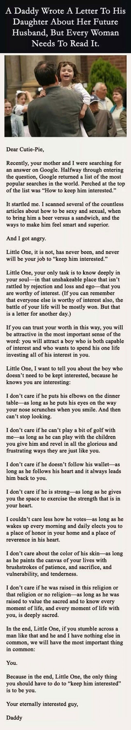 A Daddy Wrote A Letter To His Daughter About Her Future Husband, But Every Woman Needs To Read It<<this is so heart warming