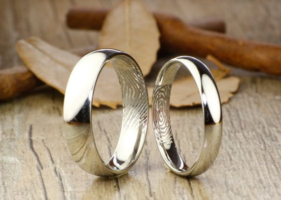 Your Actual Finger Print Rings, His and Hers Matching White Gold Polish Wedding Bands Rings 6mm and 4mm Wide Titanium Rings Set