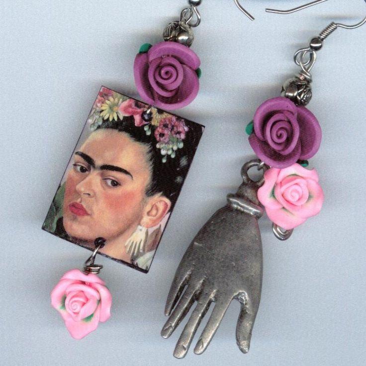 Frida Kahlo Milagro Hand Earrings clay roses