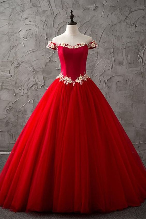 13b8709a9550 red tulle off shoulder sweetheart long high neck evening dress with white  lace flower