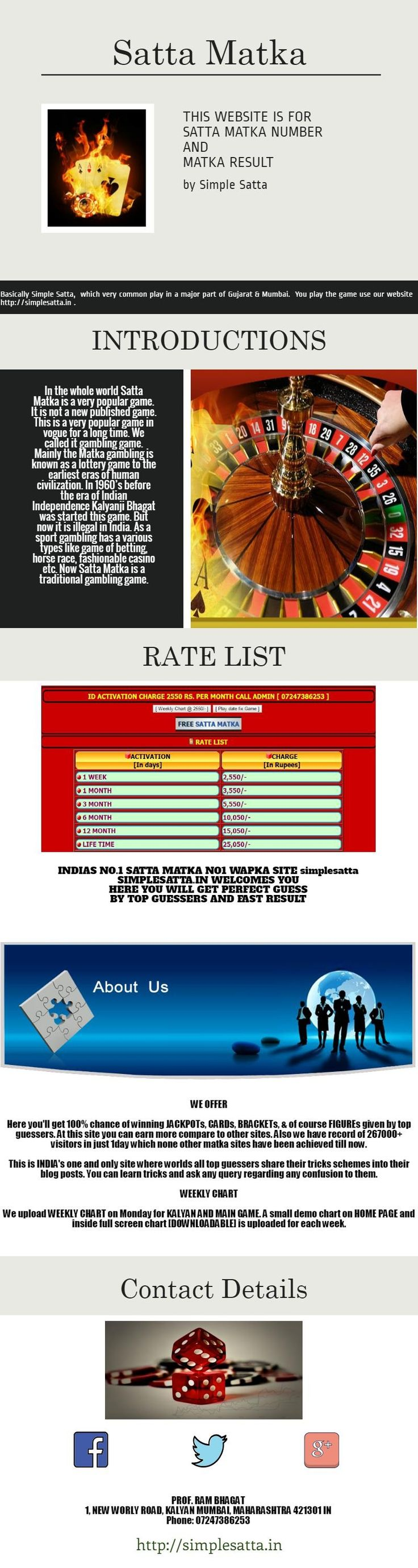 The Simple Satta online game system is the world's largest and authentic fixed date Satta Matka market.