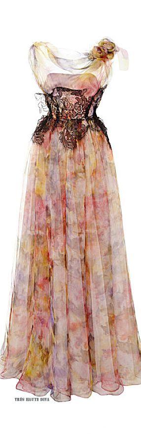 Marchesa Pastel Floral Print Gown ♔ Resort 2015