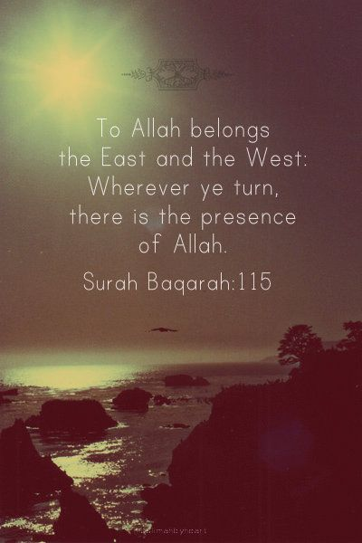 Qur'an al-Baqarah 2:115:  And to Allah belongs the east and the west. So wherever you [might] turn, there is the Face of Allah . Indeed, Allah is all-Encompassing and Knowing.