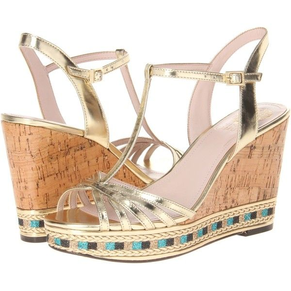 Vince Camuto Tasha (Gold) Women's Wedge Shoes ($78) ❤ liked on Polyvore featuring shoes, sandals, gold, gold glitter shoes, vince camuto sandals, platform wedge sandals, cork wedge sandals and gold wedge sandals