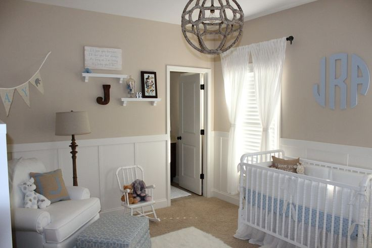 We love the modern and rustic touches to this classic, baby boy nursery! #nursery #babyboyWhite Neutral, Baby Blue And Beige Nursery, White And Beige Baby Room, Boys Nurseries, Stones Mountain, Baby Boys, Projects Nurseries, Neutral Nurseries, Baby Nurseries