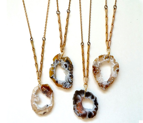 earthy geode slice with a brass wheat chain-- My kind of jewelry!