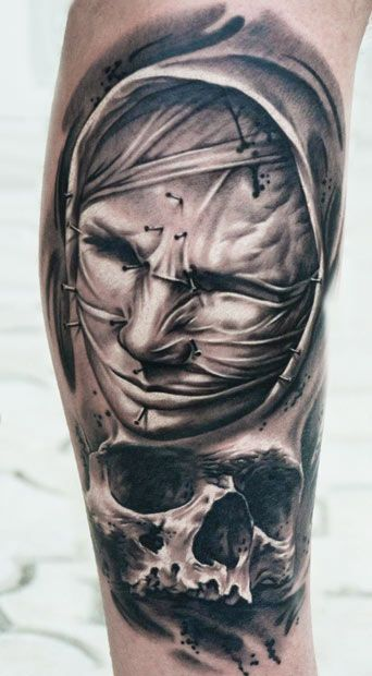 Realism Face Tattoo by A.d. Pancho