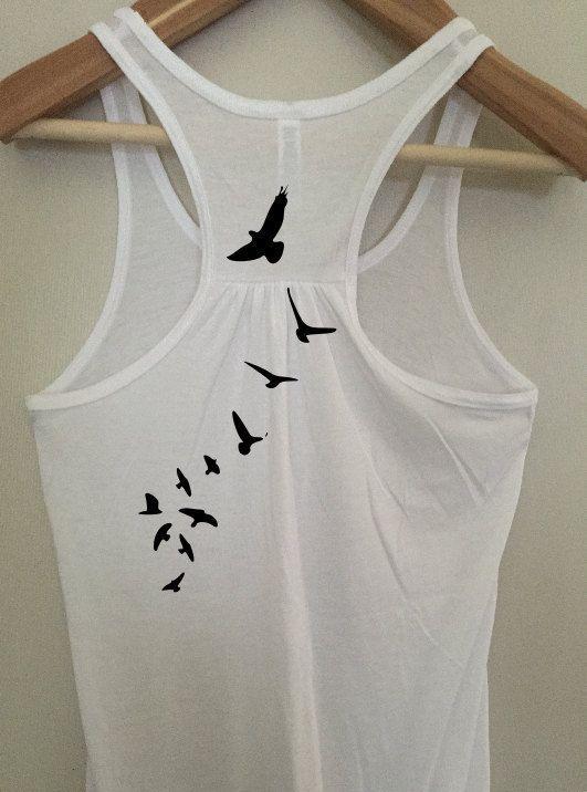 Bird Silhouette Back Print Tank Top  Women's by BlackCatPrints