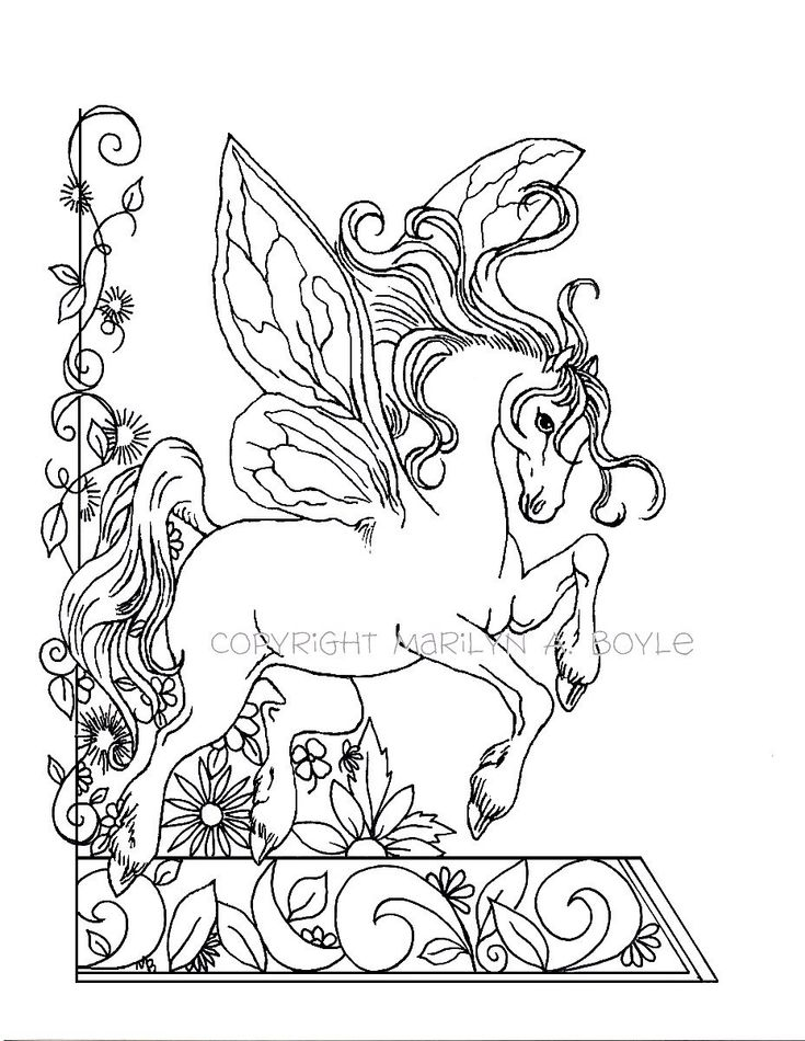 ADULT COLORING PAGE; fantasy, fairy horse, flowers, garden, nature, digital download, by OriginalSandMore on Etsy