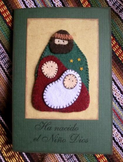 tarjetas navideñas artesanales cartulina carpeline,fieltro cortar pegar,cocida a mano