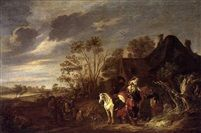 A landscape with a hunting party at rest beside a building by Ludolf de Jongh