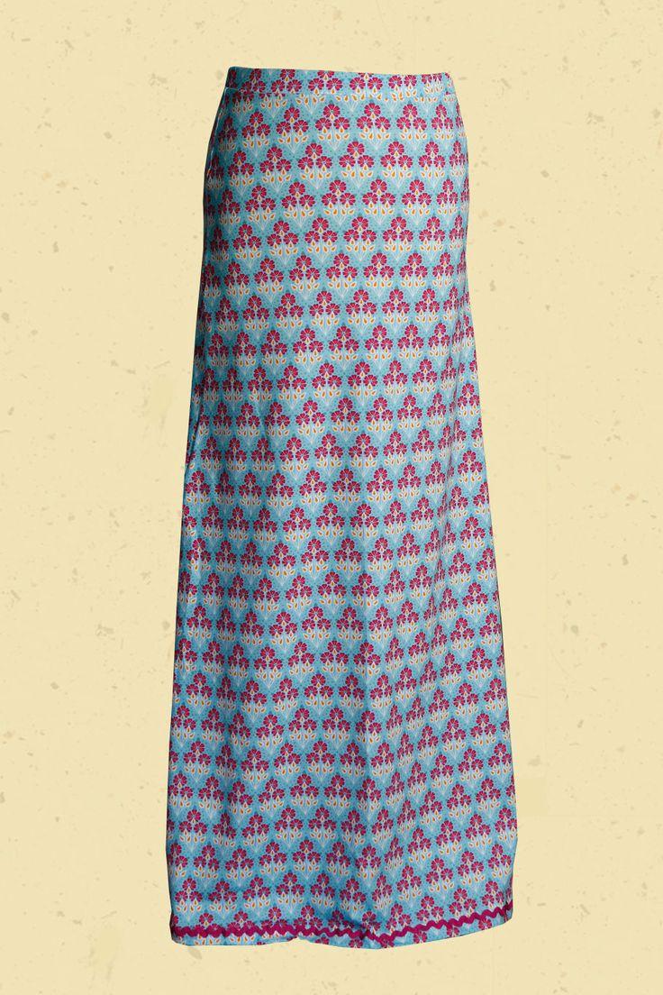 Talulabelle Lichtblauwe maxi-rok met roze bloemen light blue floral print maxi skirt