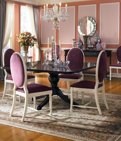 ... Dining Room With Purple Accessories. See More. Chair Rails And Frames