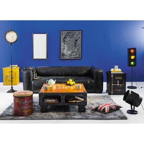 Bout de canapé container en métal noir L 46 cm