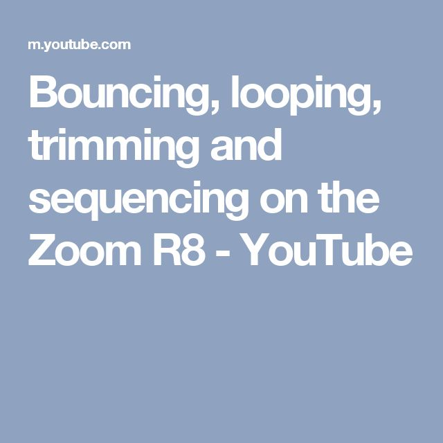 Bouncing, looping, trimming and sequencing on the Zoom R8 - YouTube