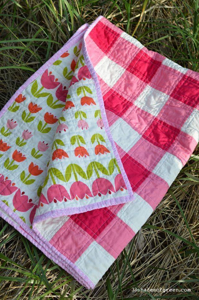 33 Shades of Green: Floral Gingham Baby Quilt                              …