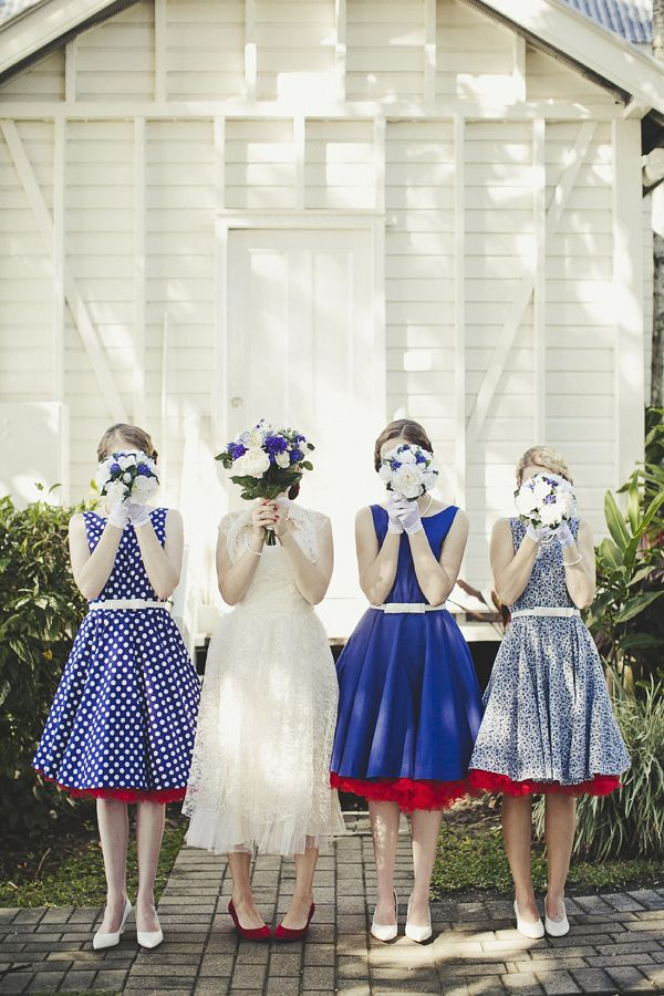 bride + bridesmaids in blue vintage dresses // photo by DanODayPhotography.com.au  This goes completely against the dream wedding idea in my head but it's so wonderful! I would be totally content with this wedding :D