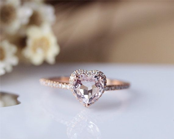 Corazón puro anillo Solid 14K oro rosa morganita por JulianStudio