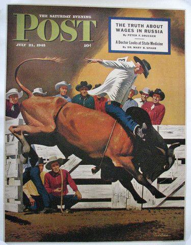 1945 Fred Ludekens Cowboy Rodeo Saturday Eve Post Original Vintage Western Poster – Vintage Poster Works: Debra Clifford