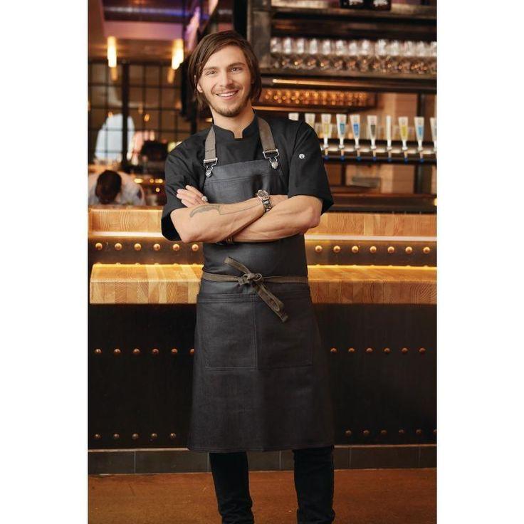 Delantal largo color negro efecto mojado unisex Chef Works Boulder