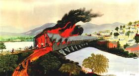 The Burning of Troy in 1862 - Grandma Moses
