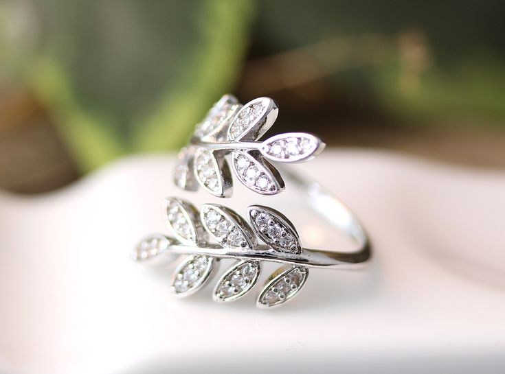 Crystal leaf Ring Adjustable Simple Twig Ring Jewelry