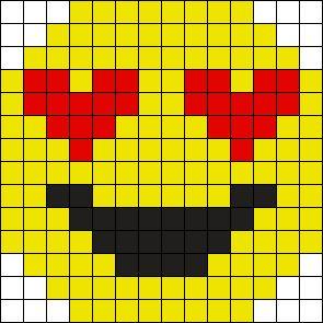 Heart Eye Emoji Perler Bead Pattern / Bead Sprite