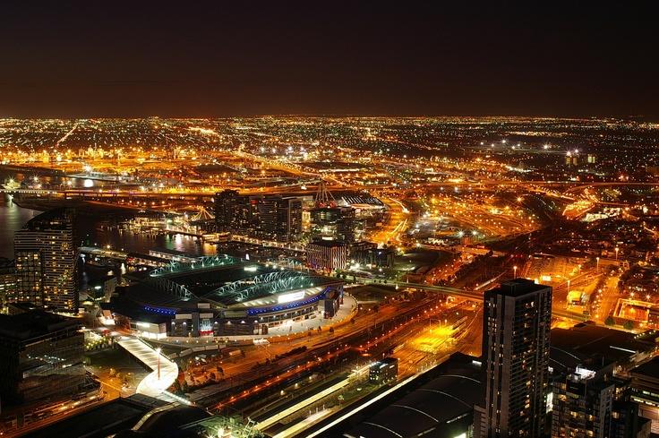 Etihad Stadium at night, Melbourne Australia